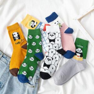 śmieszne długie skarpetki z motywem pandy