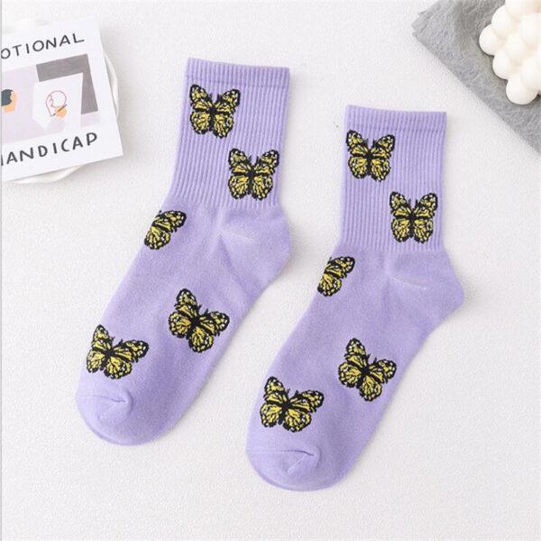 śmieszne skarpetki w motyle kolor fioletowy