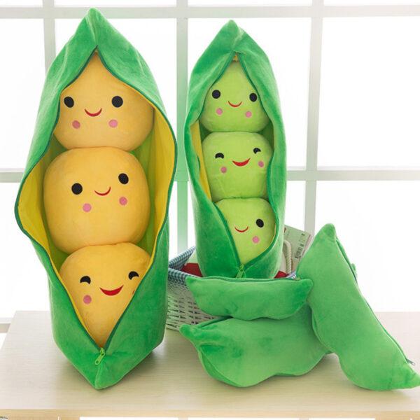 śmieszne pluszaki w kształcie kukurydzy i groszka