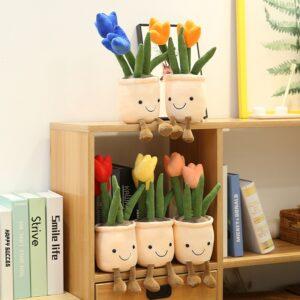 śmieszne pluszaki w kształcie tulipanów